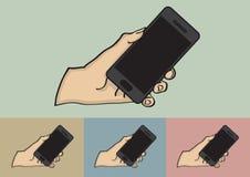 Feche acima da mão que guarda a ilustração preta do vetor do telefone celular Imagem de Stock Royalty Free