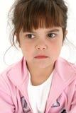 Feche acima da menina idosa de cinco anos triste Imagem de Stock Royalty Free