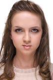 Feche acima da mulher bonita com espaço livre compo imagem de stock royalty free