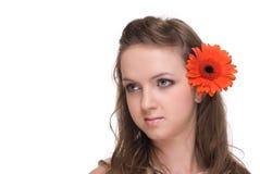 Feche acima da mulher bonita nova com espaço livre compo Imagem de Stock