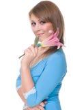 Feche acima da mulher bonita nova com flor Imagens de Stock