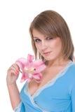 Feche acima da mulher bonita nova com flor Fotos de Stock