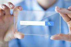 Feche acima da mulher com smartphone transparente Foto de Stock Royalty Free