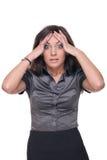 Feche acima da mulher de negócio nova com problema Fotos de Stock