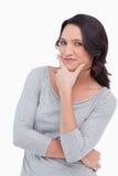 Feche acima da mulher no pose dos pensadores Foto de Stock Royalty Free
