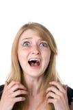 Feche acima da mulher scared imagem de stock royalty free