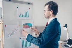 Feche acima da opinião lateral o homem de negócios focalizado que põe o papel com torta imagem de stock