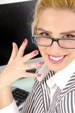 Feche acima da opinião mulher de negócios pleased Imagem de Stock Royalty Free