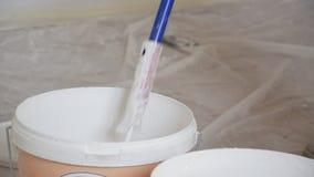 Feche acima da opinião o trabalhador profissional que mergulha o rolo de pintura na cubeta video estoque