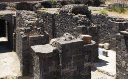 Feche acima da opinião Roman Amphitheater de Catania imagem de stock