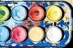 Feche acima da paleta dos watercolours Imagem de Stock Royalty Free