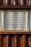 Feche acima da parede do metal com um bloco de vidro Foto de Stock Royalty Free