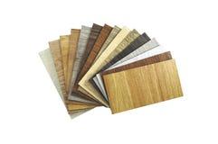 Feche acima da parte de guia da cor da madeira para a amostra isolada no branco Fotos de Stock Royalty Free