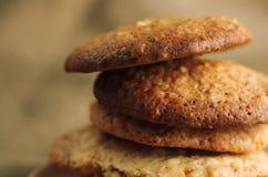 Feche acima da pilha de cookies deliciosas Fotografia de Stock