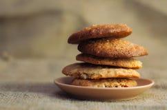 Feche acima da pilha de cookies deliciosas Imagem de Stock
