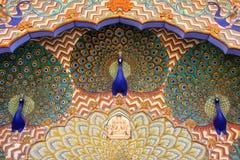 Feche acima da porta do pavão em Pitam Niwas Chowk, cidade Palac de Jaipur Imagens de Stock