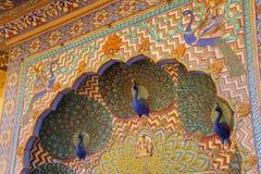 Feche acima da porta do pavão em Pitam Niwas Chowk, cidade Palac de Jaipur Fotografia de Stock Royalty Free