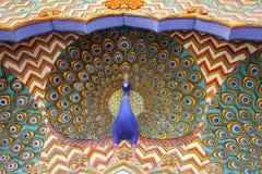 Feche acima da porta do pavão em Pitam Niwas Chowk, cidade Palac de Jaipur Imagem de Stock Royalty Free