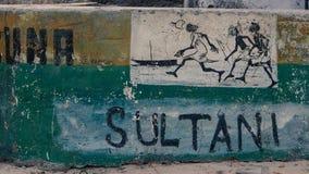 Feche acima da rua assinam em Jamibiani, Zanzibar foto de stock