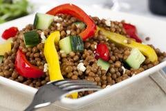 Feche acima da salada da lentilha Fotografia de Stock