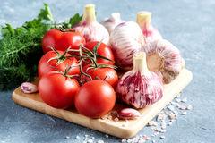 Feche acima da salsa fresca do aneto do alho dos tomates e salgue a placa de madeira Imagem de Stock