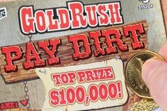 Feche acima da seção do bônus no bilhete de loteria Imagens de Stock Royalty Free