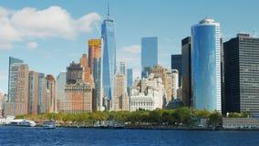 Feche acima da skyline de Manhattan, NY video estoque