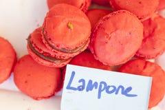 Feche acima da sobremesa dos macarons do ofl com tons pasteis cor-de-rosa Fotos de Stock Royalty Free