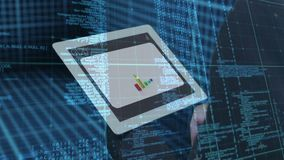 Feche acima da tabuleta digital ilustração do vetor