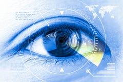 Feche acima da tecnologia da exploração do olho das mulheres no futurista ilustração royalty free