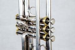 Feche acima da trombeta silverplated foto de stock royalty free