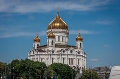 Feche acima da vista à catedral de Cristo o salvador em Moscou, Russ Fotografia de Stock