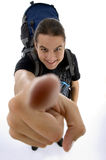 Feche acima da vista do dedo do viajante novo Imagem de Stock Royalty Free