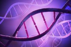 Feche acima da vista em moléculas espirais do ADN 3D rendeu a ilustração Imagem de Stock