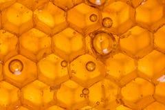 Feche acima das bolhas em Honey Comb imagens de stock royalty free