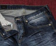 Feche acima das calças de brim da forma, foco selecionado Fotografia de Stock Royalty Free