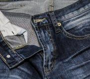 Feche acima das calças de brim da forma, foco selecionado Imagem de Stock Royalty Free