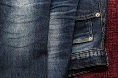 Feche acima das calças de brim da forma, foco selecionado Fotos de Stock Royalty Free