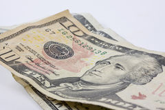 Feche acima das contas de dólares de um dez Fotos de Stock Royalty Free