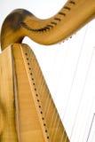 Feche acima das cordas da harpa imagem de stock