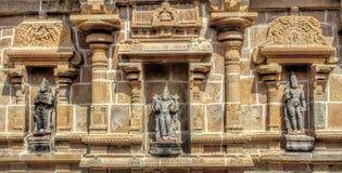 Feche acima das esculturas, templo de Ramaswamy, Kumbakonam, Tamilnadu, Índia - 17 de dezembro de 2016 Foto de Stock Royalty Free