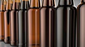 Feche acima das garrafas da cerveja em um fundo cinzento ilustração 3D Foto de Stock Royalty Free