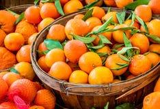 Feche acima das laranjas e das folhas brilhantes do verde em umas cubetas de madeira Fotos de Stock