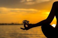 Feche acima das mãos da silhueta A mulher faz a ioga exterior Exercício da mulher vital e meditação para o clube do estilo de vid fotografia de stock