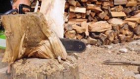 Feche acima das mãos do lenhador ou do registador que cortam a madeira para logs usando sua serra de cadeia Funcionamento do lenh filme