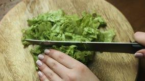 Feche acima das mãos do ` s da mulher que cortam a alface saboroso verde para uma salada vegetal dietética vídeos de arquivo