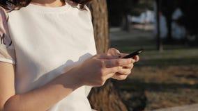 Feche acima das mãos do ` s da mulher usando o smartphone que senta-se no banco no parque no por do sol Menina europeia bonita qu Foto de Stock