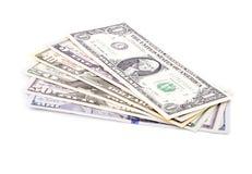 Feche acima das notas de dólar dos E.U. de várias denominações Imagem de Stock Royalty Free