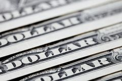 Feche acima das notas de dólar dos E.U. um Um fundo das cédulas do dólar Fotos de Stock Royalty Free