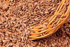 Feche acima das sementes de linho Imagens de Stock Royalty Free